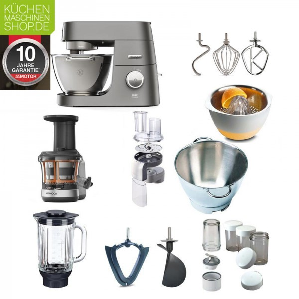 Slow Juicer Paket Kenwood Titanium Chef KVC 70 7320S mit Deutscher Garantie