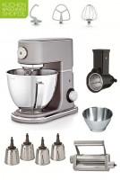 Der Klassiker: Die WMF Profi Plus Küchenmaschine in Steel Grey passt in jede Küche und hilt Dank Super-Paket bei allen Arbeiten